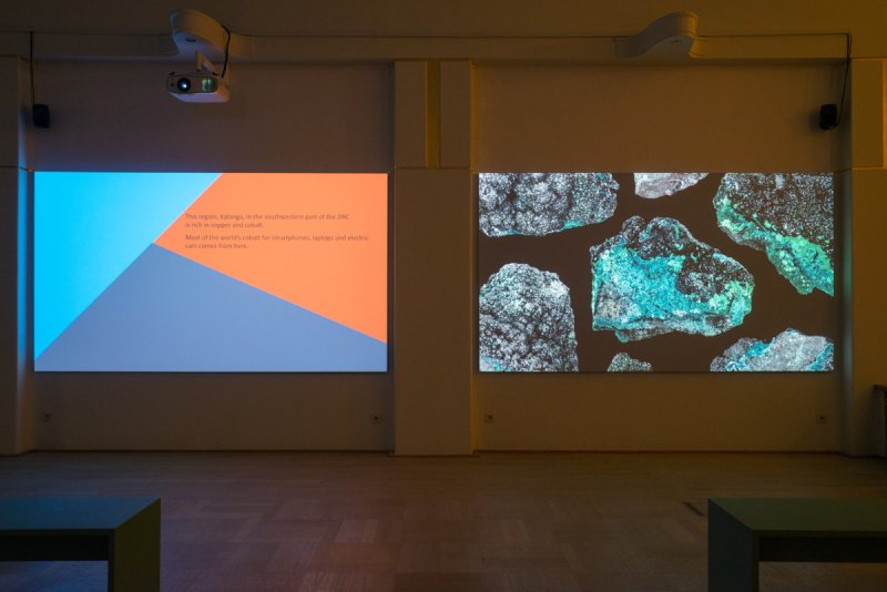 Learning from Artemisia, 2019-2020, 3-channel HD video with sound, 15', painting, photographs, installation view La Loge, Brussels